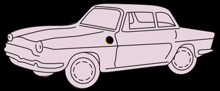 Auto roze transparant minder kader