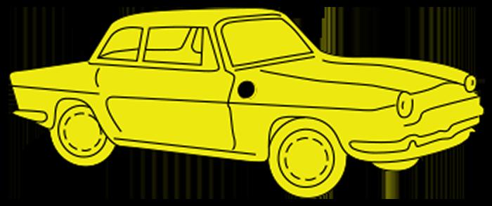 Auto geel transparant minder kader