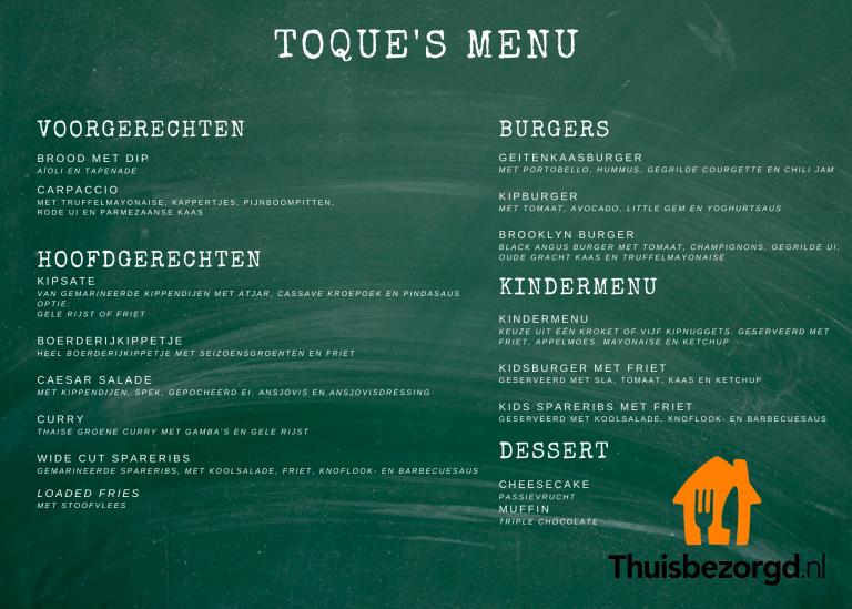TT menu thuisbezorgd